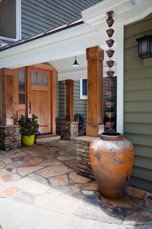 entry way with rain feature