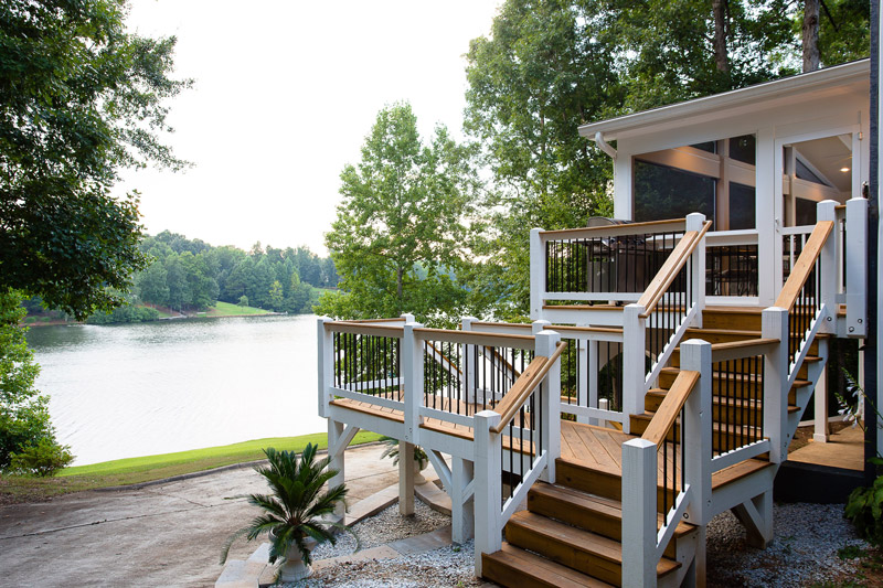 deck and porch by lake