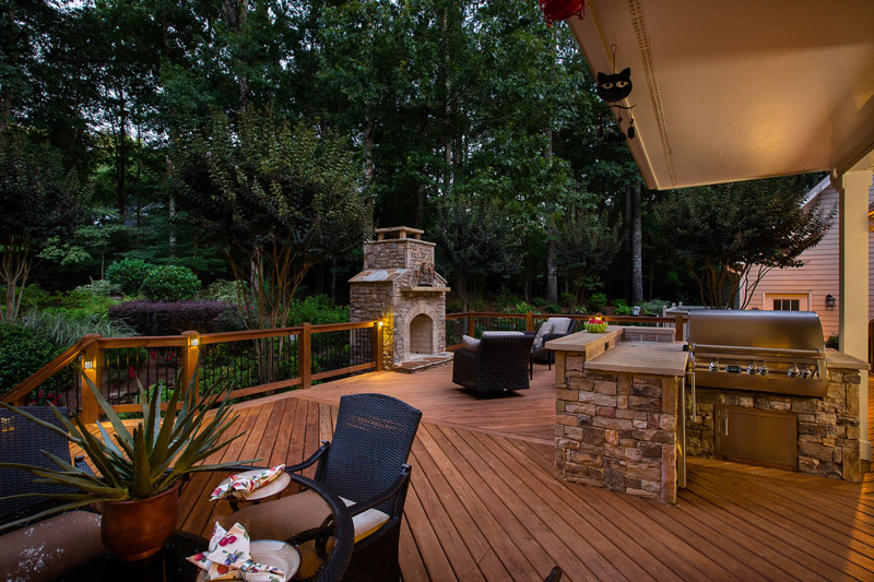 deck and outdoor kitchen area