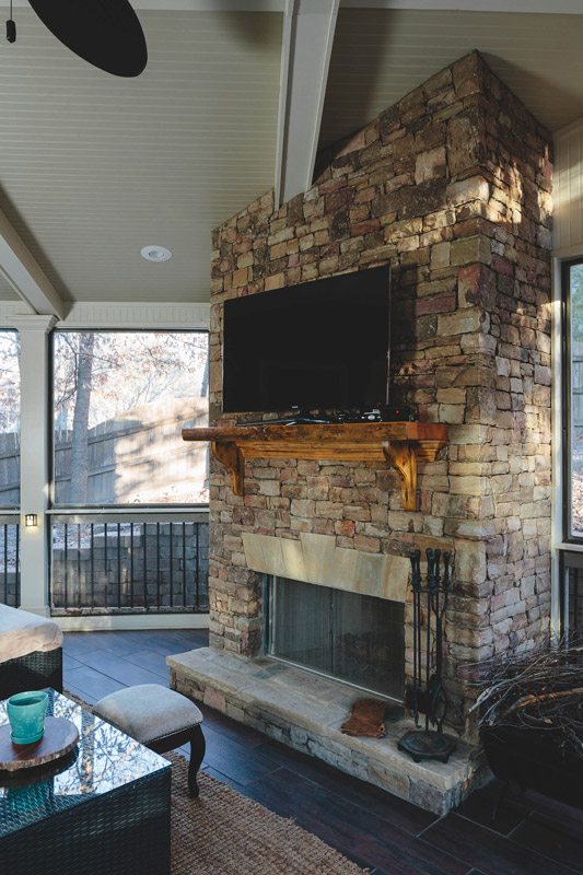 interior porch fireplace