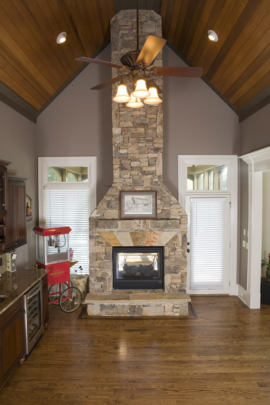 sunroom and addition with fireplace