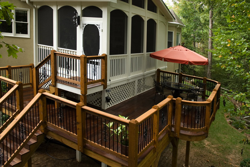 curved deck and stairs